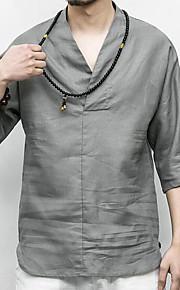 Муж. С принтом Рубашка Классический Однотонный Бежевый XXXL / Длинный рукав