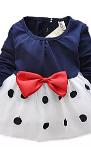 토들러 여아 단 / 귀여운 스타일 일상 / 학교 / 홀리데이 블랙&화이트 도트무늬 / 패치 워크 리본 긴 소매 긴 그외 드레스 네이비 블루 / 데이트