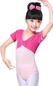 Ballet Leotardos Chica Entrenamiento Rendimiento Algodón Lazo de satén Fruncido Manga Corta Cintura Media Leotardo / Pijama Mono