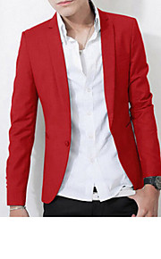 Men's Daily / Work Spring / Fall Plus Size Regular Blazer, Solid Colored Long Sleeve Polyester Pink / Dark Red / Royal Blue XL / XXL / XXXL / Slim