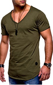 남성용 솔리드 슬림 플러스 사이즈 티셔츠, 베이직 스포츠 면 그레이 XL / 짧은 소매 / 여름