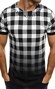 男性用 スポーツ - プリント Tシャツ ベーシック ラウンドネック スリム カラーブロック / チェック / レタード コットン / 半袖