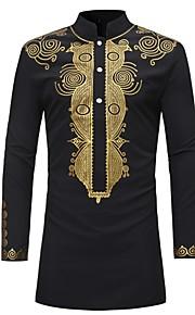 Erkek Dik Yaka Gömlek Desen, Kabile Vintage Siyah XL / Uzun Kollu