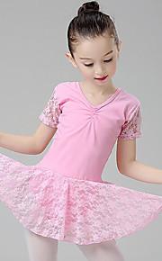 Ballet Vestidos Chica Entrenamiento Rendimiento Algodón Encaje Fruncido Manga Corta Cintura Media Vestido