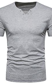 Ανδρικά T-shirt Ενεργό - Βαμβάκι Μονόχρωμο Λαιμόκοψη V Μαύρο L / Κοντομάνικο / Καλοκαίρι