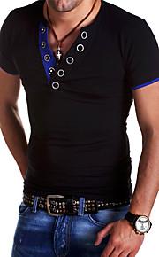 Муж. Спорт Футболка Хлопок, V-образный вырез Тонкие Классический Контрастных цветов Черный L / С короткими рукавами