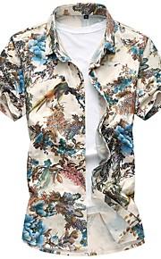 男性用 シャツ ベーシック フラワー コットン / 半袖