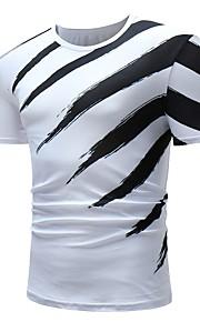 Муж. Футболка Хлопок, Круглый вырез Классический Контрастных цветов Черное и белое Белый XL / С короткими рукавами