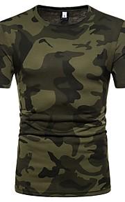 Herrn camuflaje - Grundlegend Baumwolle T-shirt, Rundhalsausschnitt Braun L / Kurzarm