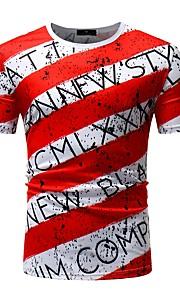男性用 スポーツ - プリント Tシャツ ベーシック ラウンドネック スリム ストライプ / レタード コットン / 半袖