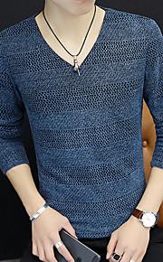 남성용 솔리드 V 넥 티셔츠, 베이직 블랙 XXXXL / 긴 소매
