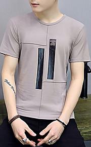 Муж. Футболка Круглый вырез Классический Полоски Розовый XL / С короткими рукавами