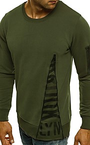 Hombre Básico Algodón Camiseta, Escote Redondo Letra Negro XL / Manga Larga