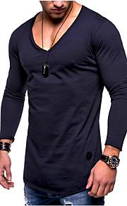 Hombre Básico Algodón Camiseta Un Color Azul Marino XL / Manga Larga