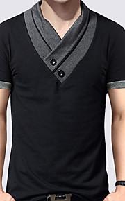Pánské - Jednobarevné / Barevné bloky Základní Větší velikosti Tričko, Patchwork Bavlna Do V Štíhlý Černá XXXL / Krátký rukáv / Léto