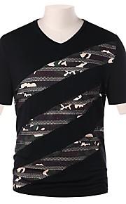 Herrn camuflaje - Street Schick T-shirt, V-Ausschnitt Schwarz L / Kurzarm