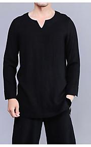 Hombre Básico / Tejido Oriental Tallas Grandes Algodón / Lino Camiseta, Escote Redondo Delgado Un Color Blanco XXL / Manga Larga