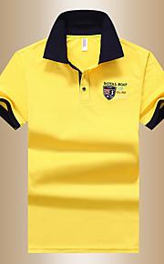 Муж. Polo Рубашечный воротник Классический Однотонный Синий XL / С короткими рукавами / Лето