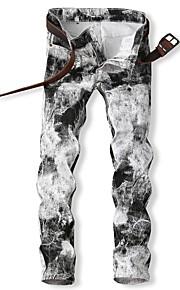 Erkek Sokak Şıklığı Pamuklu İnce Chinos Pantolon - Geometrik Desen Beyaz / Bahar / Sonbahar / Kulüp