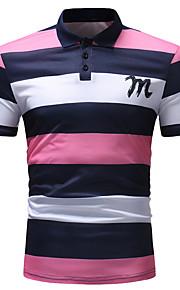 男性用 プリント Polo ベーシック シャツカラー ストライプ / カラーブロック コットン / 半袖 / 夏