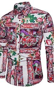 Hombre Vintage / Básico / Chic de Calle Discoteca Tallas Grandes Estampado - Lino Camisa Delgado Bloques Arco Iris XXXL / Manga Larga