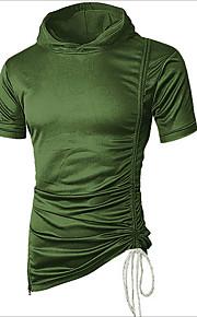 男性用 Tシャツ フード付き ソリッド / 半袖 / ロング