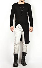 남성용 솔리드 라운드 넥 티셔츠, 베이직 면 화이트 XL / 긴 소매 / 긴