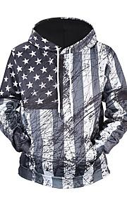 男性用 活発的 / ベーシック パンツ - 幾何学模様 / カラーブロック / 3D ブラック & レッド / ブラック&ホワイト, プリント グレー / フード付き / 長袖 / 秋 / 冬