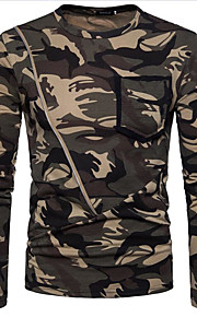 T-shirt Per uomo Camouflage Rotonda Marrone L / Manica lunga