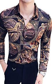 Hombre Camisa, Cuello Inglés Delgado Bloques Marrón XL / Manga Larga / Verano