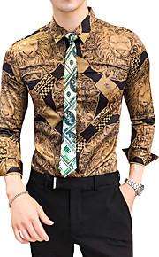 Hombre Vintage Camisa, Cuello Inglés Delgado Bloques Dorado XL / Manga Larga / Otoño