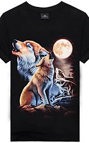 男性用 プリント Tシャツ ストリートファッション / パンク&ゴシック ラウンドネック 3D / 動物 コットン オオカミ / 半袖