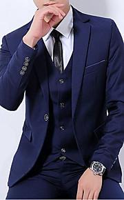 Муж. Повседневные Обычная Костюмы, Однотонный Лацкан с тупым углом Длинный рукав Полиэстер Черный / Красный / Темно синий XL / XXL / XXXL
