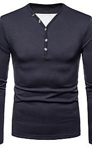 Ανδρικά T-shirt Μονόχρωμο Λαιμόκοψη V Σκούρο γκρι L / Μακρυμάνικο
