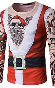 Муж. Рождество Футболка Круглый вырез Геометрический принт Черный L / Длинный рукав