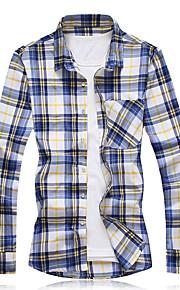 男性用 シャツ チェック ブラック&ホワイト / 長袖