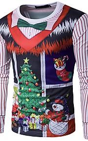 Муж. Рождество Футболка Круглый вырез Геометрический принт Зеленый L / Длинный рукав