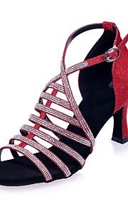 9b259cc5e9b3 40 Γυναικεία Παπούτσια χορού λάτιν Συνθετικά Πέδιλα Αγκράφα / Κρυστάλλινη  λεπτομέρεια Τακούνι καμπάνα Παπούτσια Χορού Καφέ /