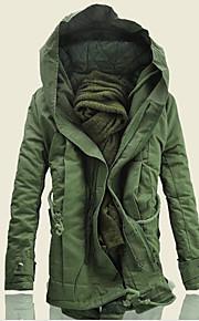 Hombre Diario Invierno Largo Abrigo, Un Color Con Capucha Manga Larga Algodón Negro / Verde Ejército / Caqui XXXXL / XXXXXL / XXXXXXL