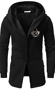 男性用 日常 レギュラー コート, ソリッド フード付き 長袖 コットン ブラック / ネイビーブルー / ライトグレー XL / XXL / XXXL