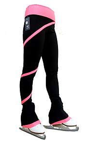피겨스케이트 바지 여성용 여아 아이스 스케이팅 사이클링 스타킹 하단 블루 밝은 블루 밝은 핑크 폴라 플리스 높은 탄성 트레이닝 경쟁 스케이트 의류 보온 나선 스트라이프 아이스 스케이팅 피겨 스케이트