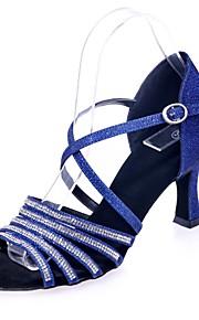 여성용 라틴 슈즈 Synthetics 샌달 버클 / 크리스탈 디테일 플레어 힐 댄스 신발 브라운 / 레드 / 블루