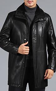 Ανδρικά Καθημερινά Κομψό στυλ street Μακρύ Γούνινο παλτό, Μονόχρωμο Κολάρο Πουκαμίσου Μακρυμάνικο Αρνί Πράσινο του τριφυλλιού / Μαύρο XL / XXL / XXXL