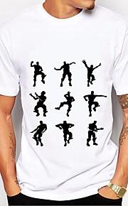 Hombre Básico Estampado - Algodón Camiseta, Escote Redondo Gráfico / Letra Blanco y Negro Blanco XL / Manga Corta