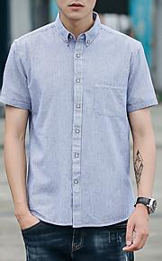 男性用 プラスサイズ シャツ ストライプ コットン / 半袖