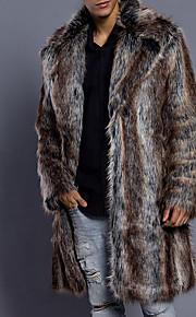 Ανδρικά Καθημερινά Πολυτέλεια / Βασικό Χειμώνας Μακρύ Γούνινο παλτό, Ριγέ Turndown Μακρυμάνικο Ψεύτικη Γούνα Καφέ XL / XXL / XXXL