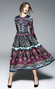 Dámské Jdeme ven Čínské vzory Swing Šaty - Jednobarevné Maxi / Midi