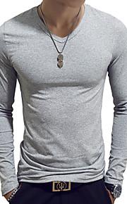 남성용 솔리드 V 넥 슬림 티셔츠, 베이직 면 밝은 블루 XL / 긴 소매 / 봄 / 가을