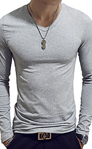 Hombre Básico Algodón Camiseta, Escote en Pico Delgado Un Color Azul claro XL / Manga Larga / Primavera / Otoño