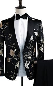 Hombre Fiesta / Discoteca Lujo / Vintage / Sofisticado Primavera / Otoño / Invierno Regular Blazer, Floral Solapa de Pico Manga Larga Poliéster Bordado Negro L / XL / XXL / Negocios formales